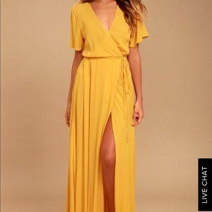 Yellow maxi wrap dress